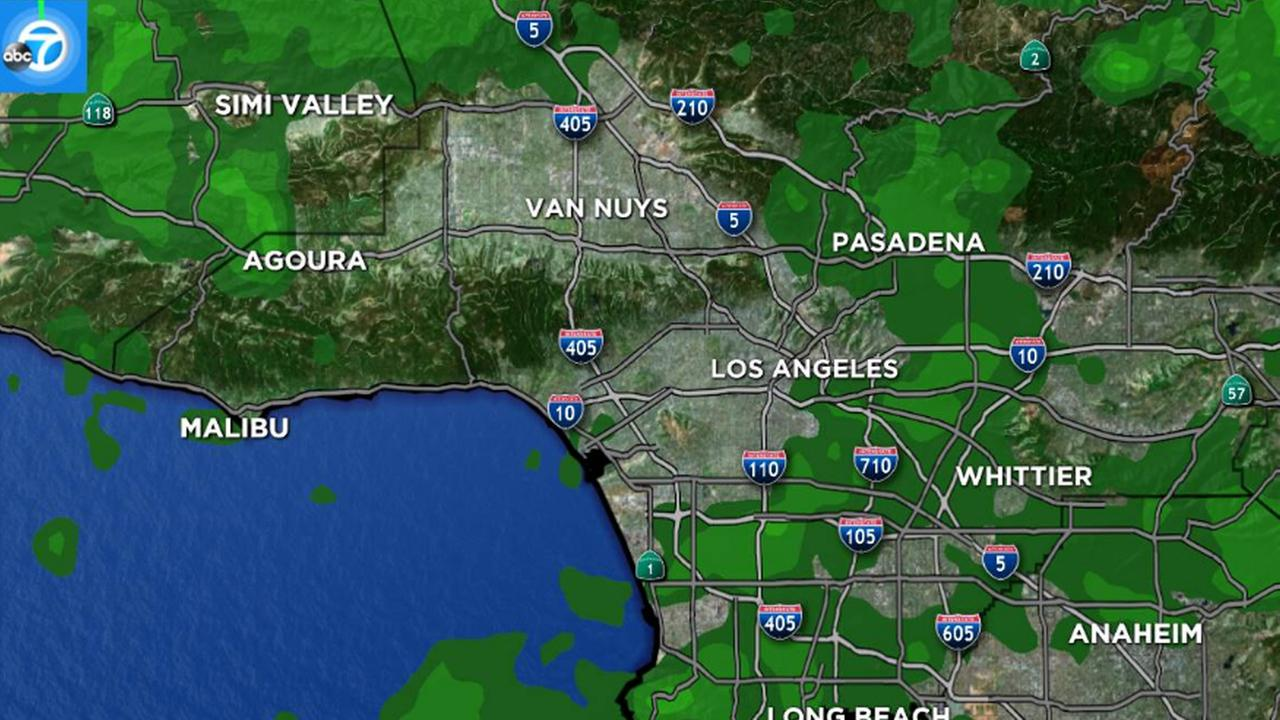 A map shows scattered showers across Los Angeles County on Sunday, Feb. 19, 2017.