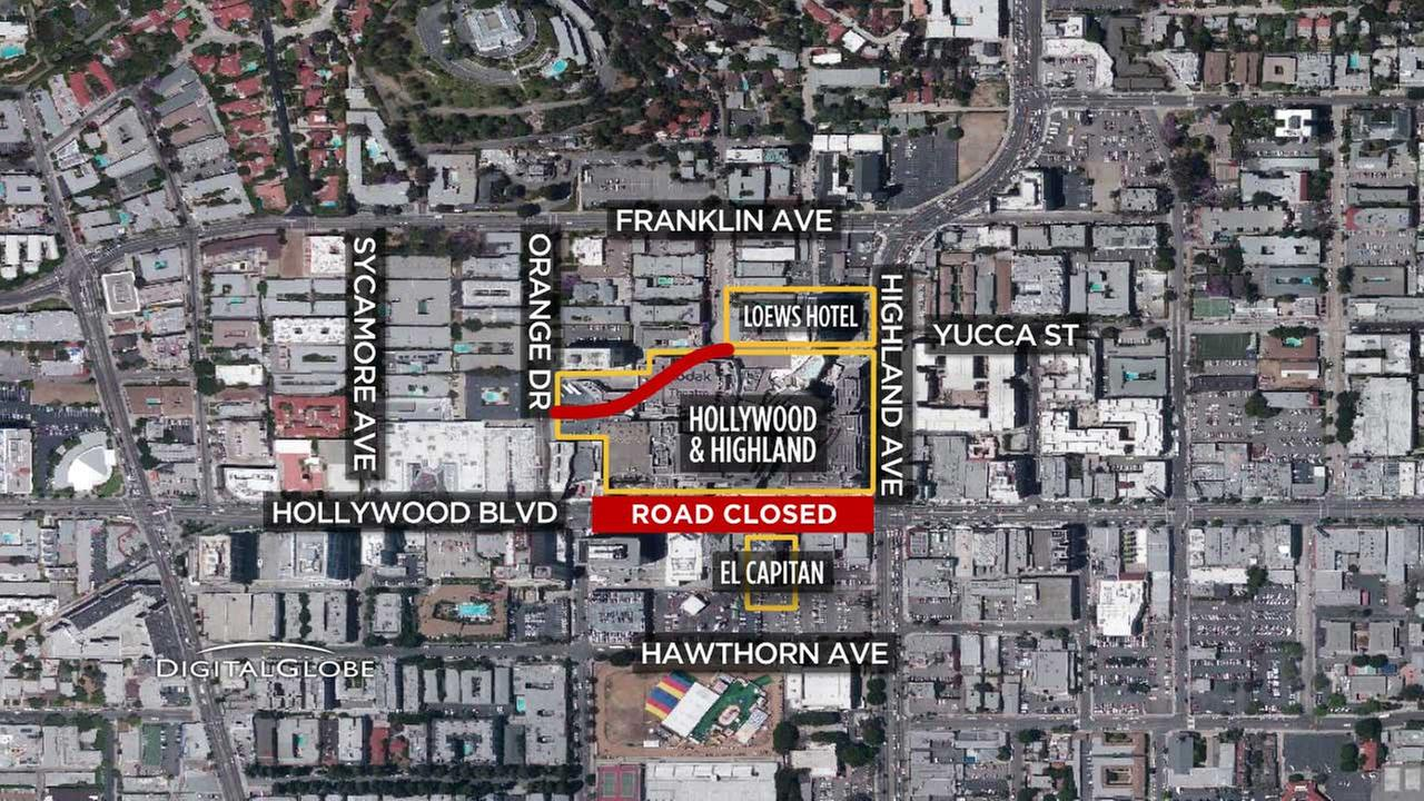 This map indicates road closures in the Hollywood area on Feb. 19, 2017, a week ahead of the 89th annual Academy Awards on Sunday, Feb. 26, 2017.