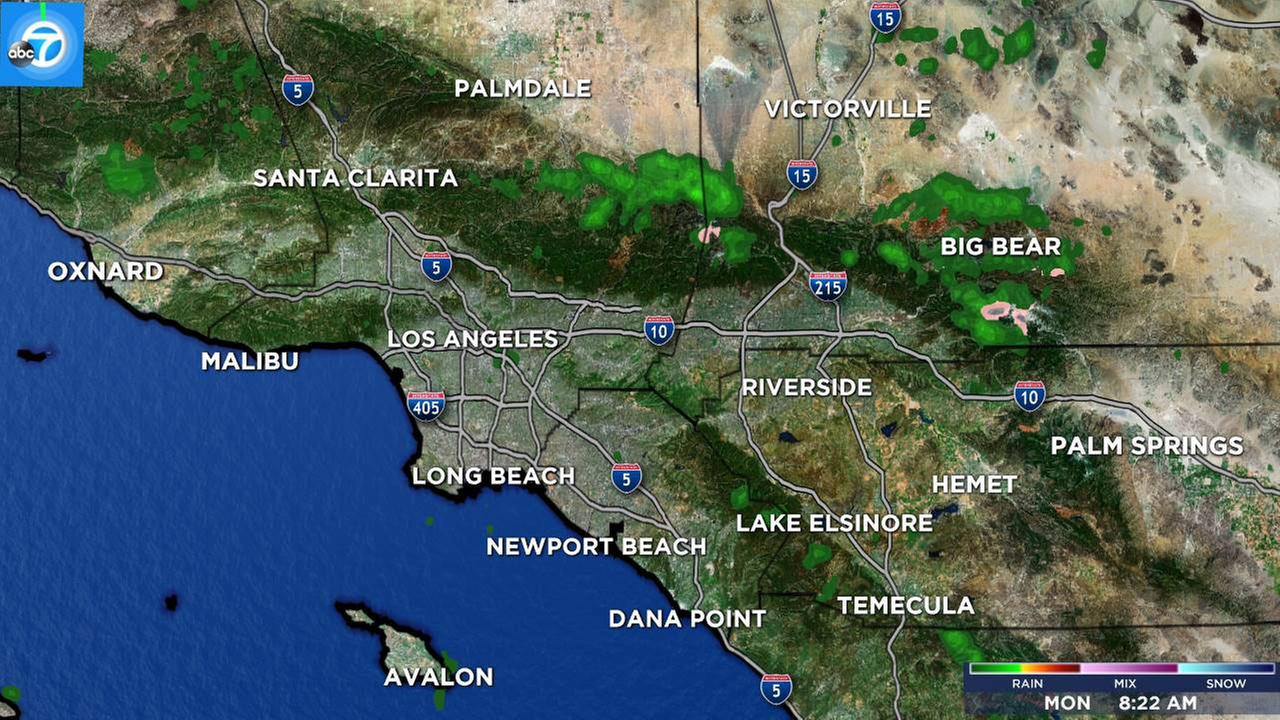 The Live Megadoppler 7000 HD shows scattered rain across the Southland on Monday, Feb. 20, 2017.