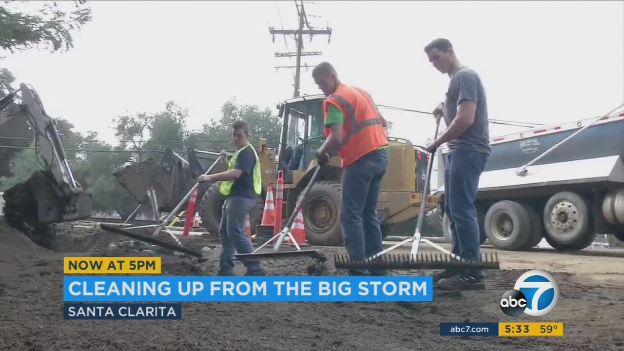 A muddy cleanup continued in Santa Clarita after a powerful storm swept through Southern California.