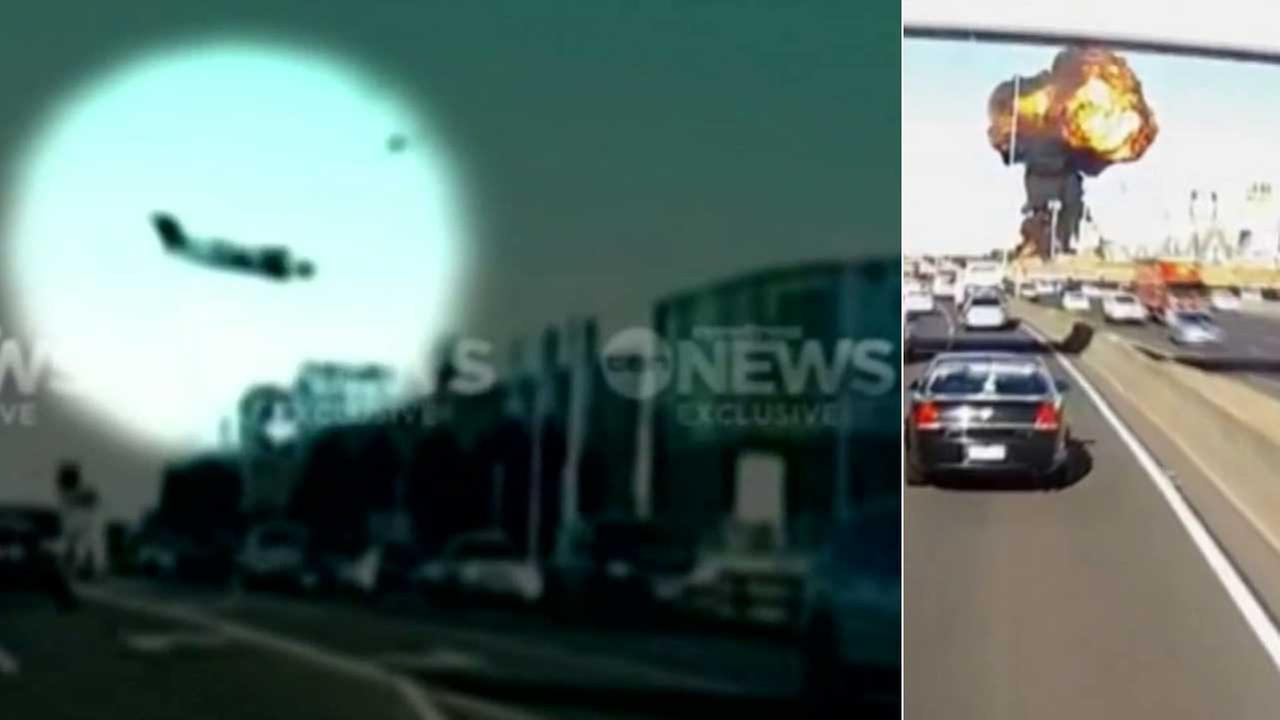 These images from ABC News show a plane crashing into a shopping mall in the Australian city of Melbourne.