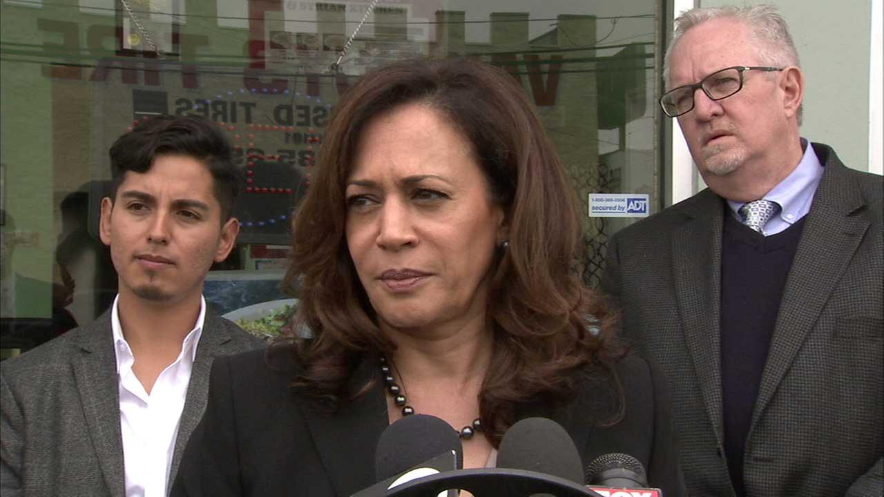 Sen. Kamala Harris speaks to reporters in Van Nuys on Tuesday, Feb. 21, 2017.