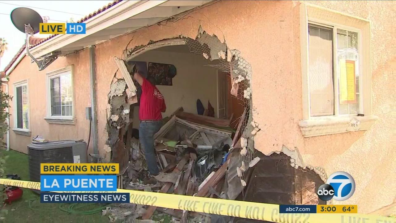 An 18-year-old turned himself in after crashing his fathers Mercedes into the bedroom of a La Puente home where two  boys were sleeping, and then fleeing the scene, police said.