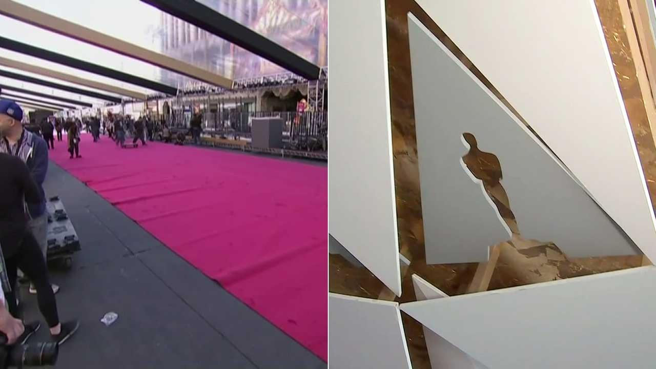 With only four more days until the Oscars, preparations are underway for the star-studded event, including setting up the press line along the red carpet and the step-and-repeat photo backdrop.