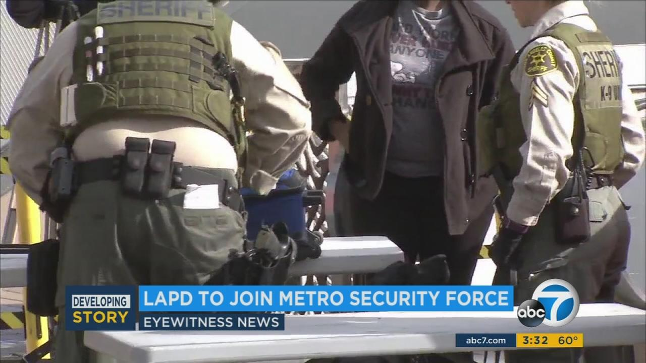 Under a new contract approved Thursday, Feb. 23, 2017, L.A. County sheriffs deputies will begin sharing Metro security duties with the Los Angeles and Long Beach police officers.