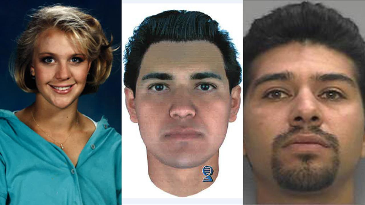 Sunny Sudweeks is seen in a family photo; a computer-generated composite image of her suspected killer; Felipe Vianney Hernandez Tellez is seen in a booking photo.