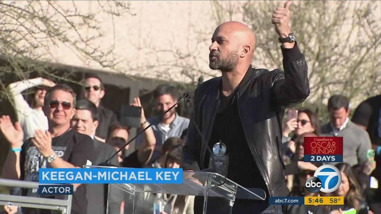 Keegan-Michael Key was among the Hollywood stars who spoke at a rally in Beverly Hills against anti-immigration policies.