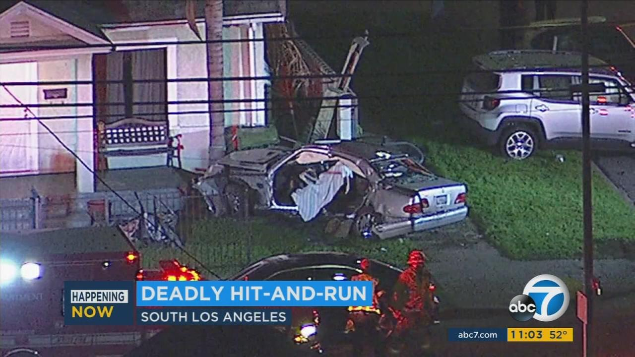 The scene of a deadly hit and run in South Los Angeles on Friday, Feb. 24, 2017.
