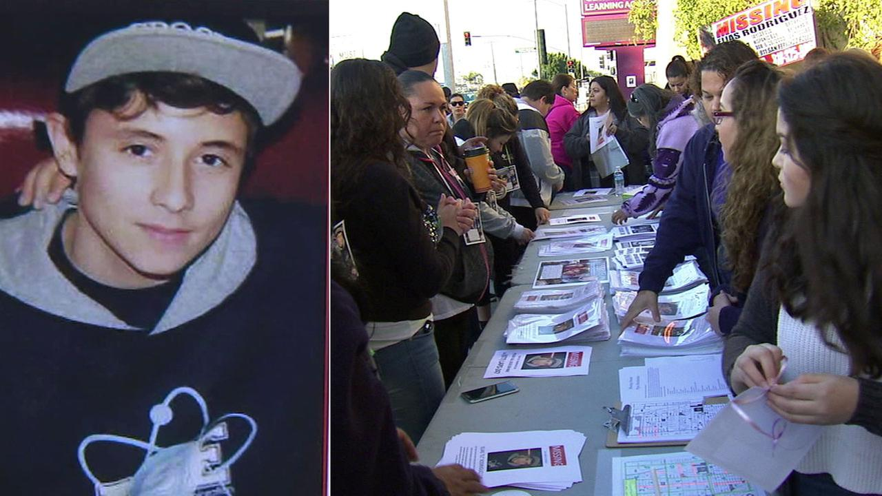 Elias Rodriguez, 14, is shown in an undated photo alongside an image of people setting up fliers to hand out in the search for him on Saturday, Feb. 25, 2017.