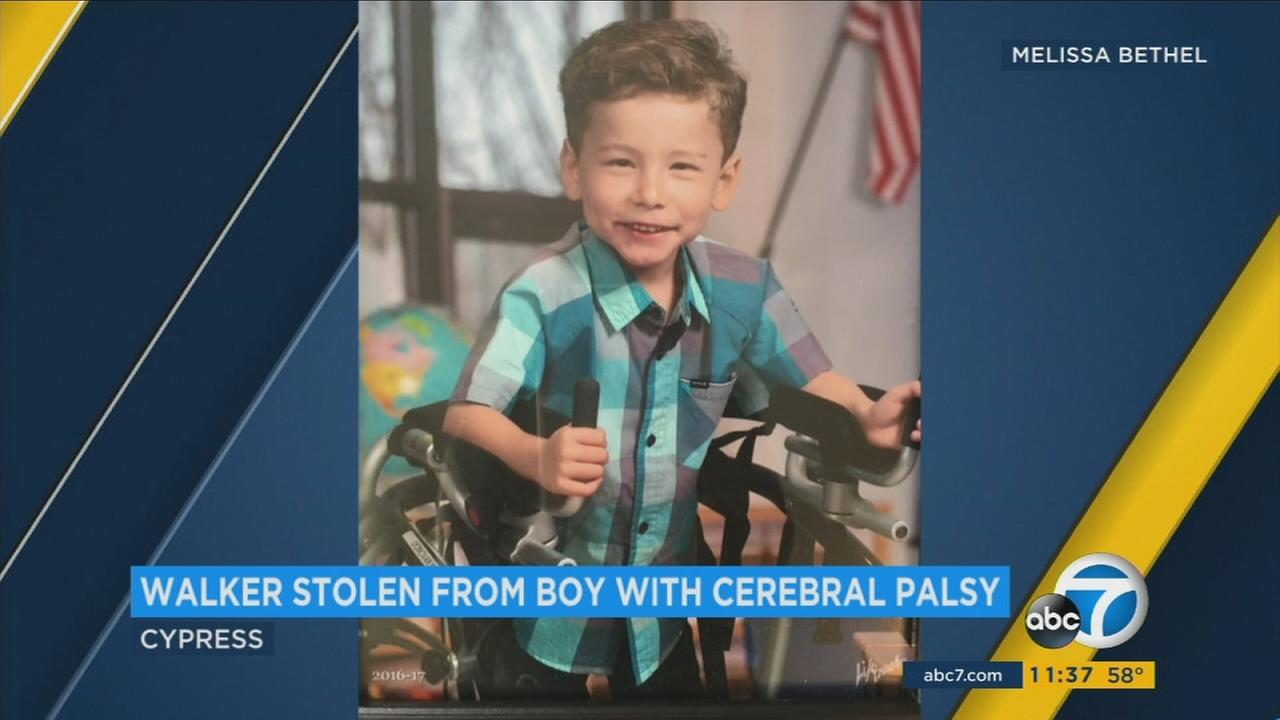 A thief stole a walker belonging to a 5-year-old boy with cerebral palsy in Cypress.