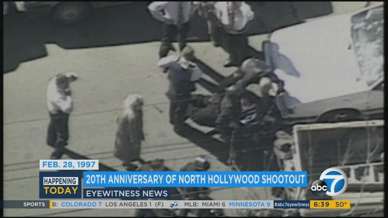 File footage shows the scene of a violent 1997 shootout in North Hollywood.