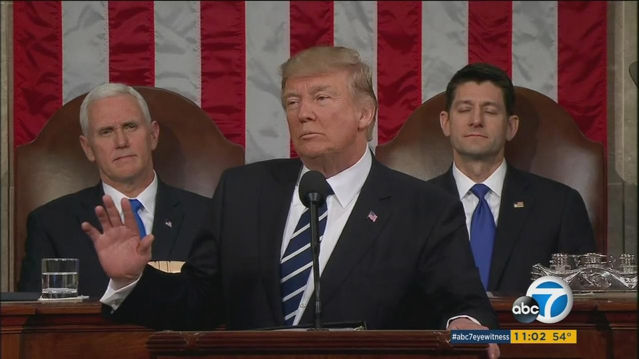 President Trump discussed fighting terrorism, clamping down on illegal immigration and overhauling health care in his first major address to a joint session of Congress.