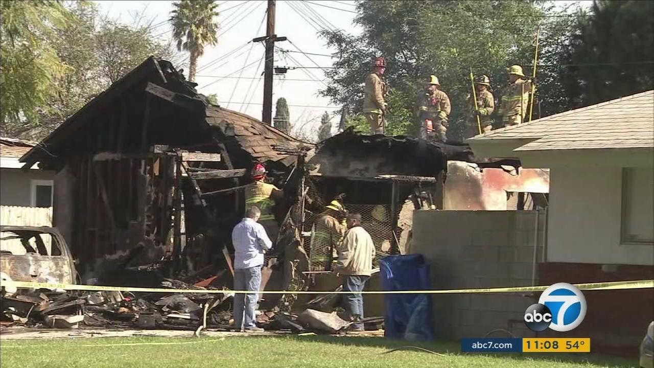 Investigators are combing through the wreckage of a Riverside home destroyed when a single-engine plane crashed into it on Monday.