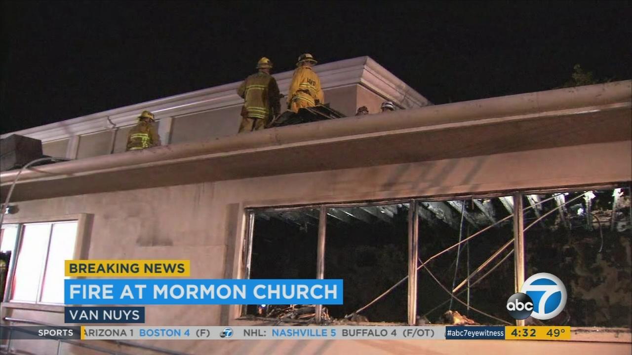 Arson investigators at scene of Van Nuys church fire