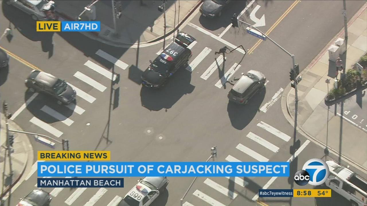 A police attempted to stop a carjacking suspect by unsuccessfully deploying a spike strip during a chase in Manhattan Beach on Wednesday, March 1, 2017.