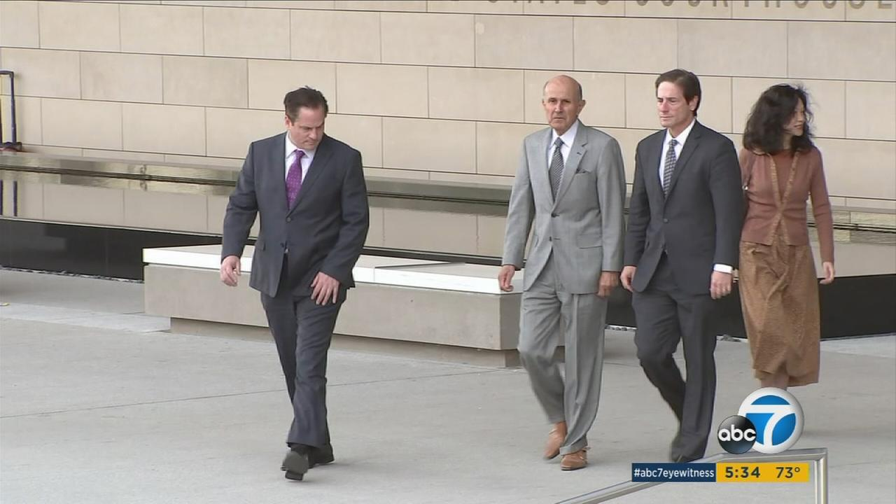 Former Los Angeles County Sheriff Lee Baca is shown walking to court on Friday, March 3, 2017, during his corruption retrial.