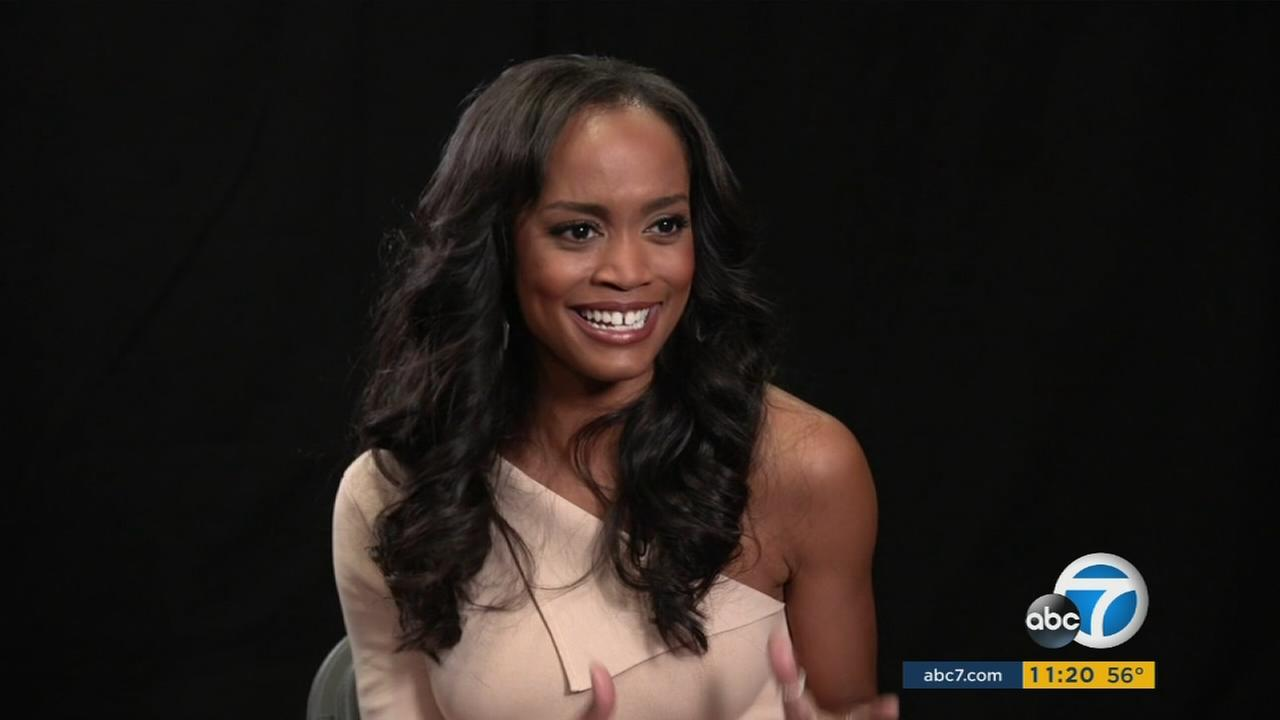 Rachel Lindsay, the first African-American Bachelorette, is shown during an interview.