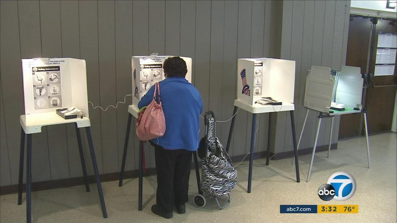 A person seen voting at a poll in Southern California on Tuesday, March 7, 2017.