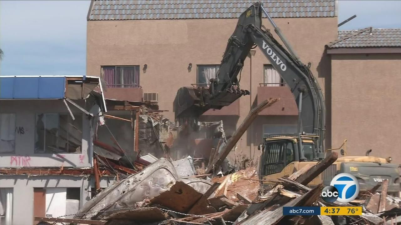 Lyndys Motel in Anaheim has been torn down to make way for new businesses after becoming a haven for squatters and drugs