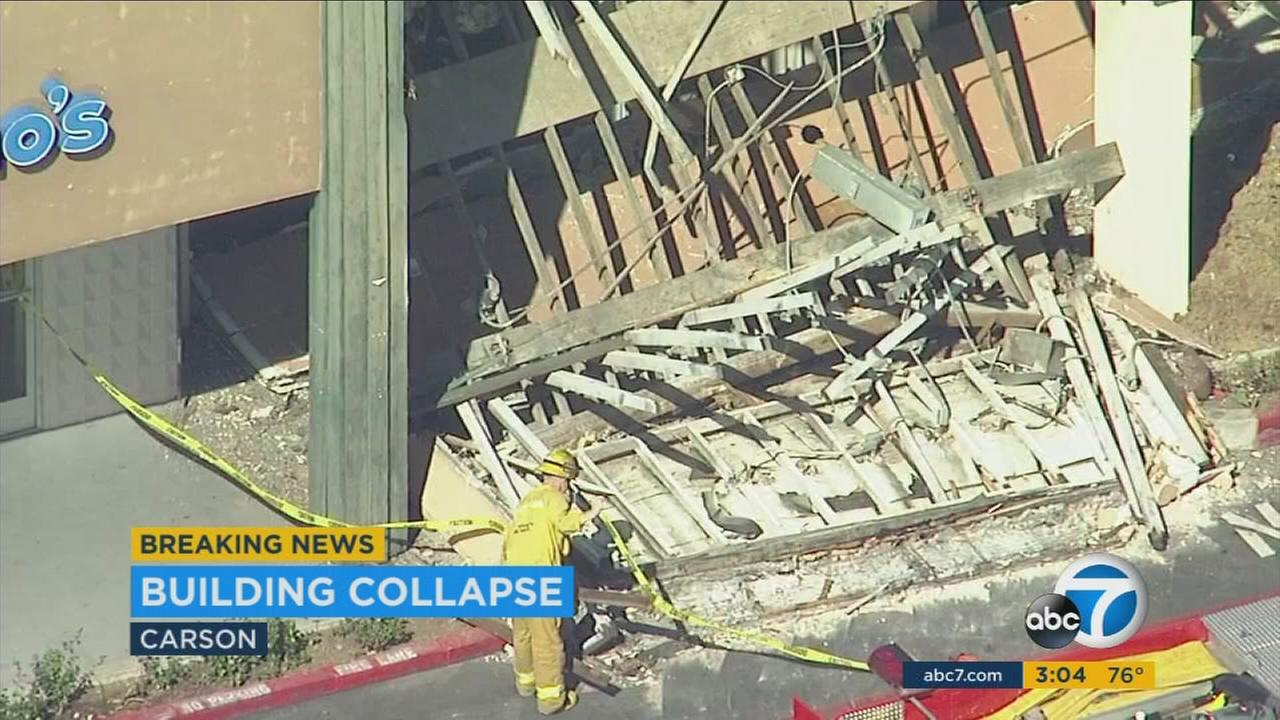 Part of a building in Carson collapses on Tuesday, March 7, 2017.