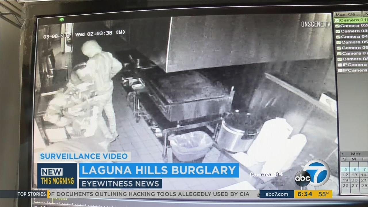 Three burglars were recorded by surveillance cameras at a Flame Broiler in Laguna Hills on Wednesday, March 8, 2017.