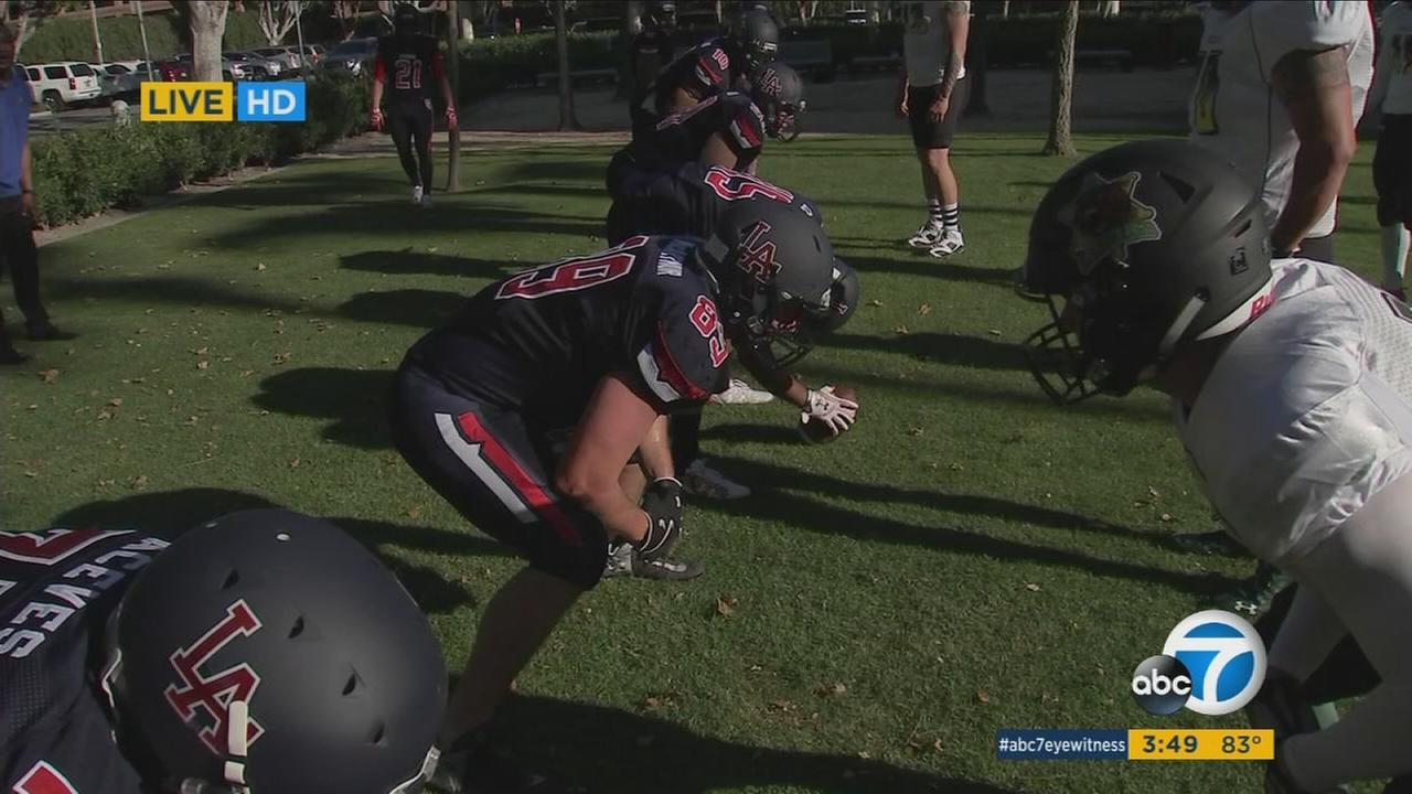 The LAPD Centurions will compete against the LASD Grizzlies in a charity football game Saturday.