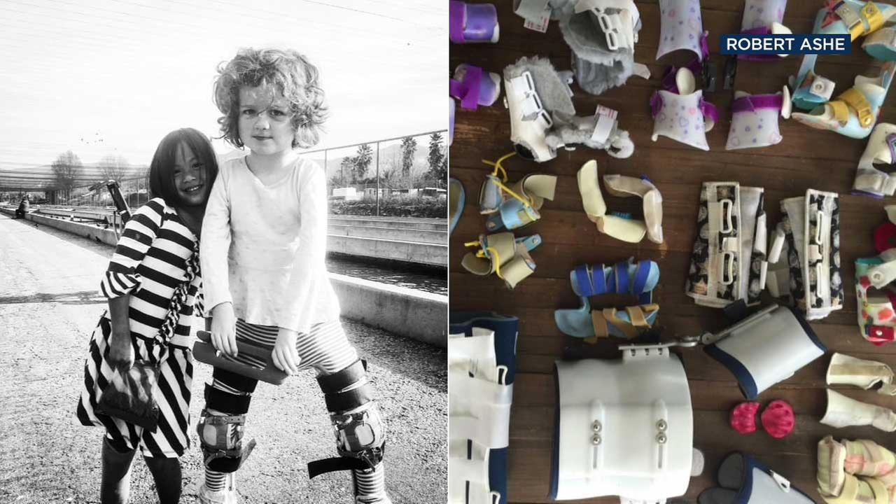 These photos from Robert Ashe show his two daughters Elliott and Fiona and their health equipment.