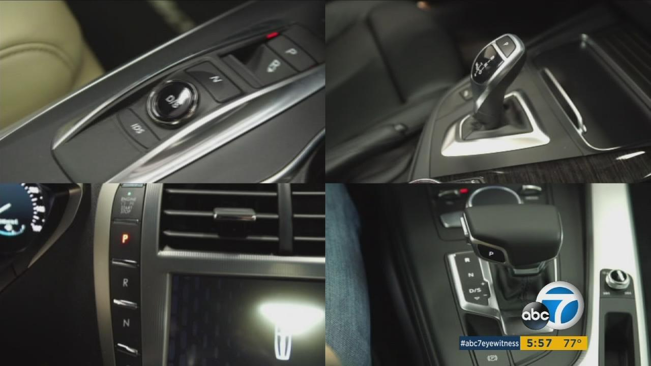 Car gear shifters are shown in several photos from different manufacturers.