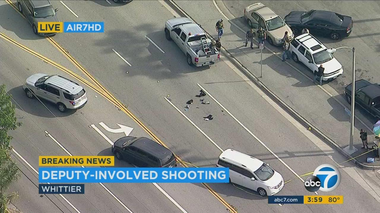 A male suspect was wounded in a deputy-involved shooting Tuesday in Whittier, officials said.