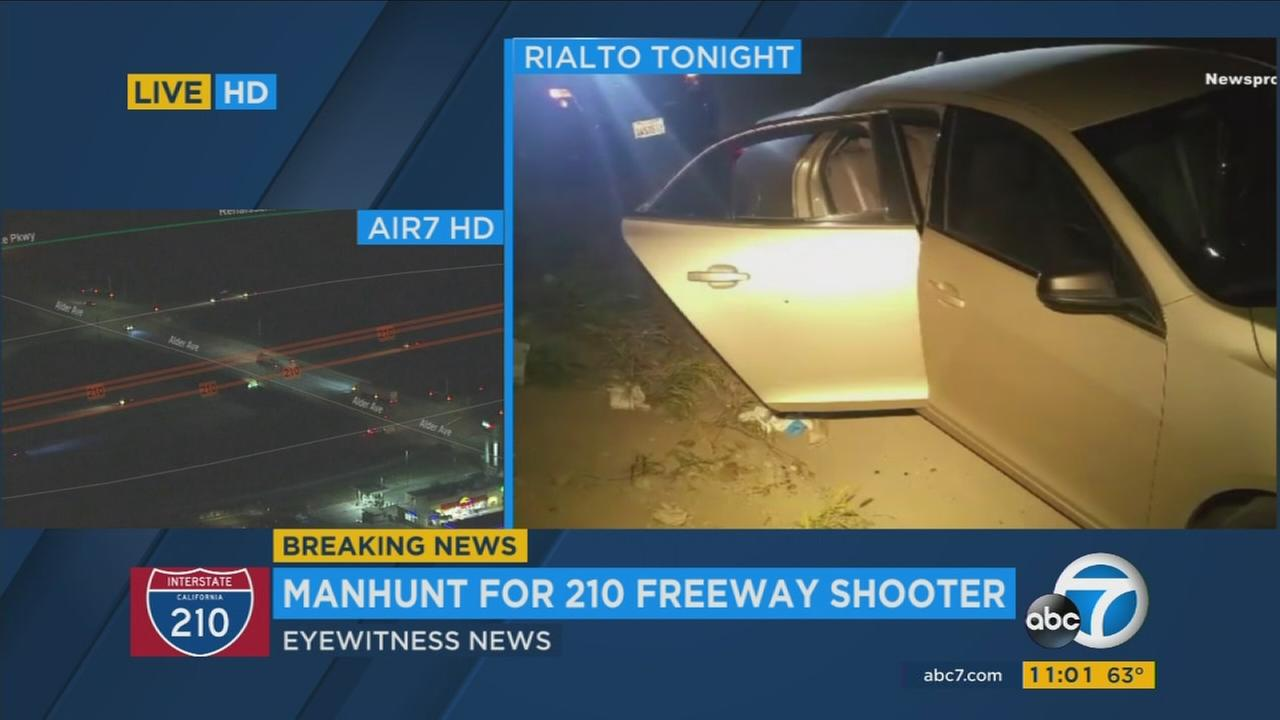 Images show the area where a suspect opened fire on two separate cars on each direction of the 210 Freeway in Rialto on Tuesday, March 14, 2017.