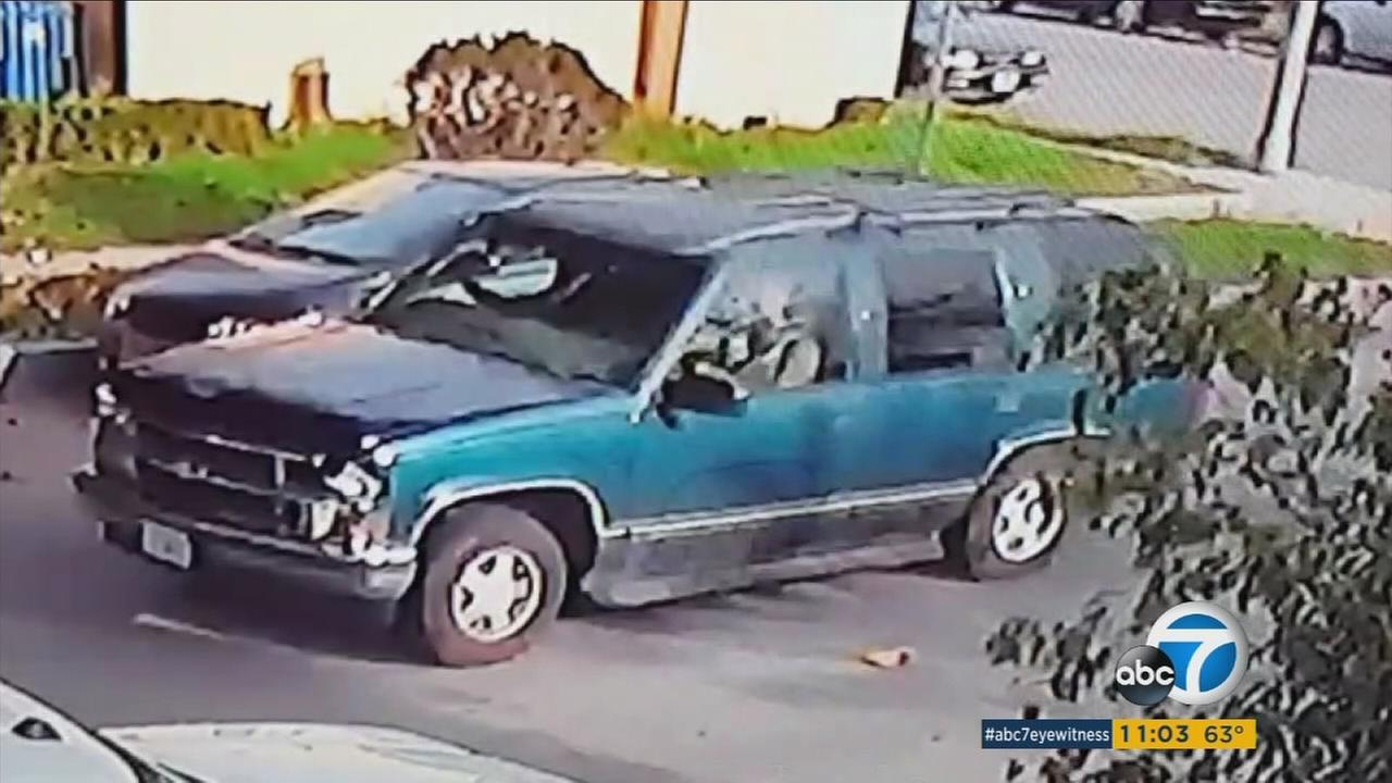 A neighbors security camera footage shows a dark green Chevy Suburban racing through the area moments after he hit and killed a child on Tuesday, March 15, 2017.