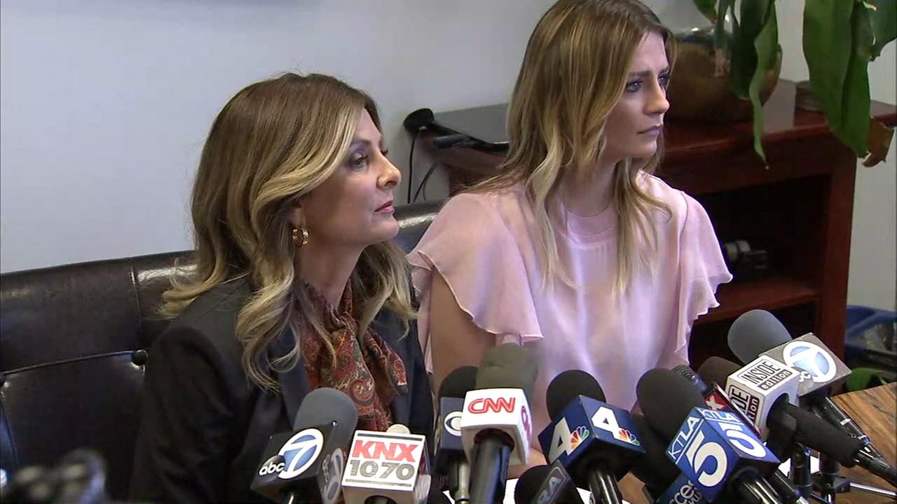 Actress Mischa Barton, left, and her attorney Lisa Bloom are seen at a press conference in Woodland Hills on Wednesday, March 15, 2017.