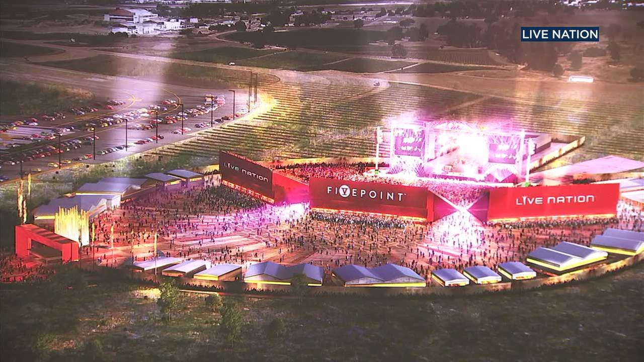 An artists rendering shows a conceptual image of a temporary amphitheater slated for construction in Irvine.