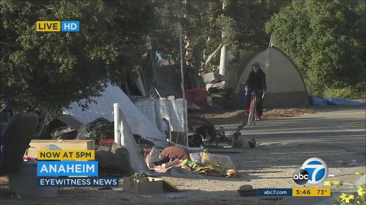 A homeless encampment near Angel Stadium of Anaheim is shown.