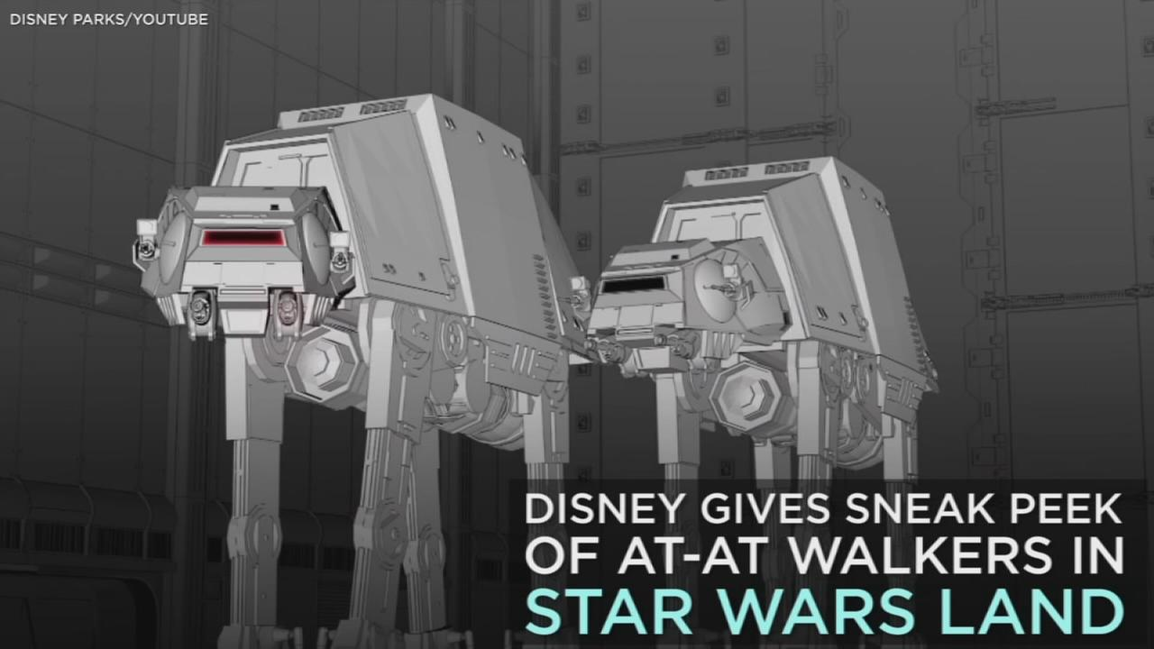 Disney gives sneak peek of giant AT-AT Walkers at Star Wars Land.