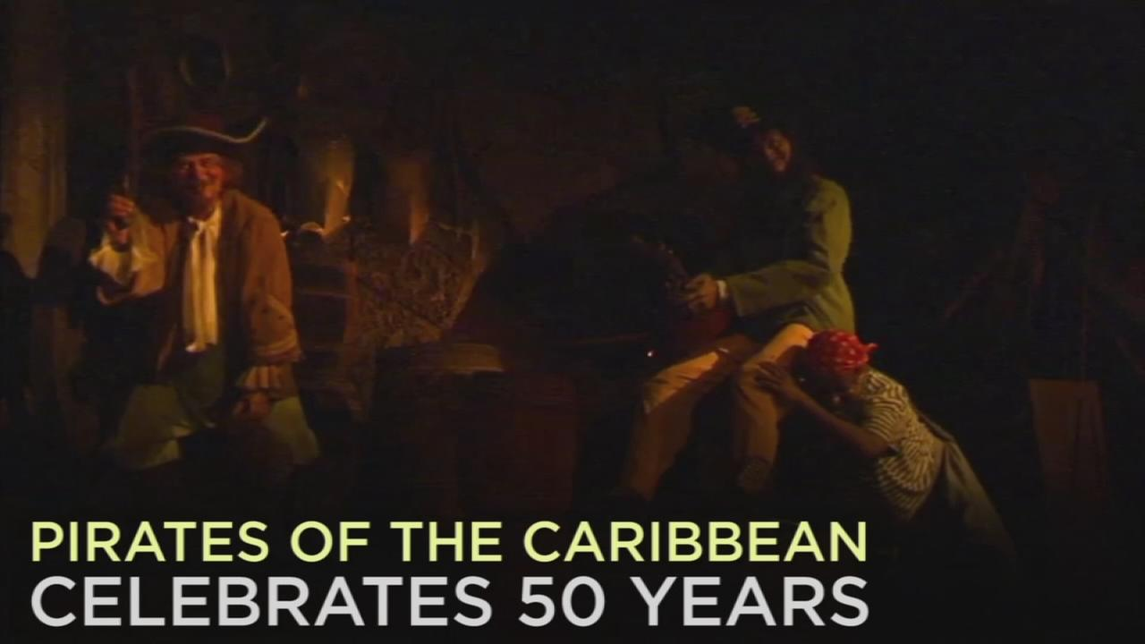 A swashbuckling celebration is underway at Disneyland for the 50th anniversary of the Pirates of the Caribbean ride.