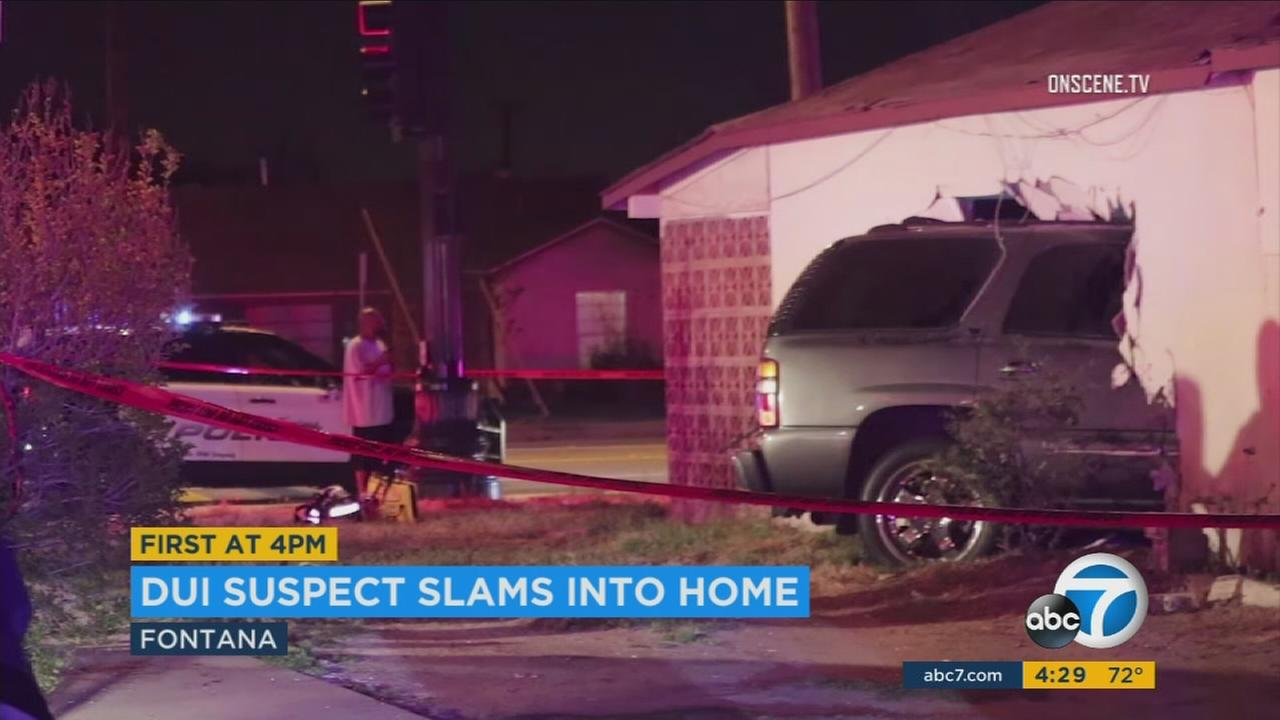 An SUV driven by an allegedly drunk driver smashed into a Fontana home in the middle of the night, sending two sleeping people inside to the hospital, officials said.