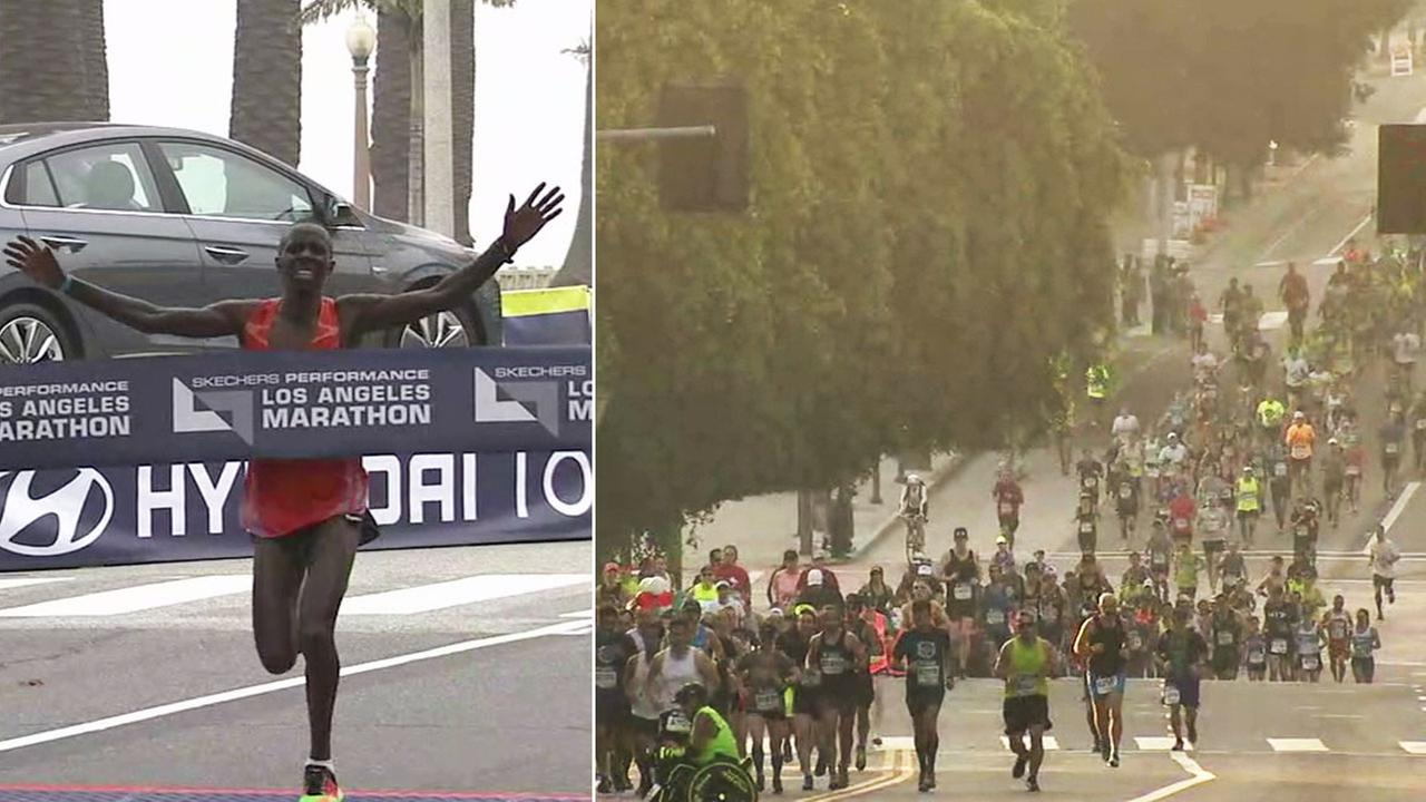 Elisha Barno of Kenya wins the mens division, ahead of at least 24,000 others participating in the 2017 Los Angeles Marathon on Sunday, March 19, 2017.