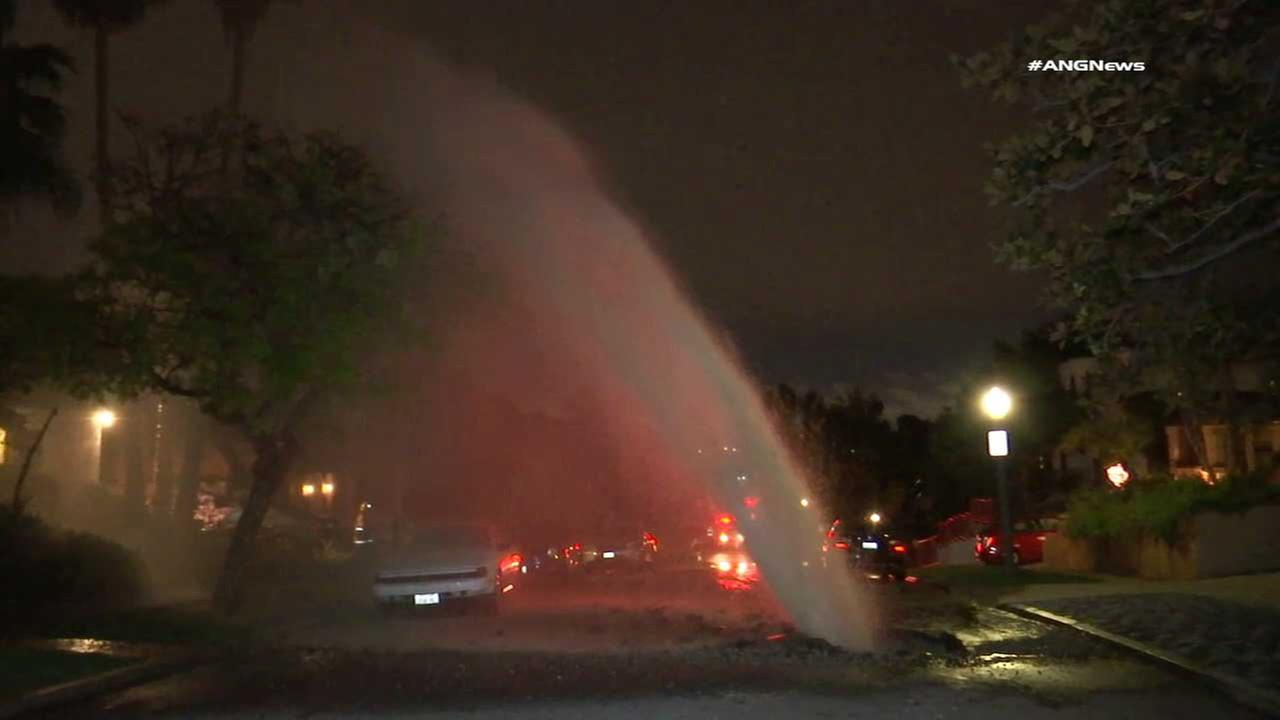 A ruptured water main triggered a geyser of water in West Los Angeles on Monday, March 20, 2017.