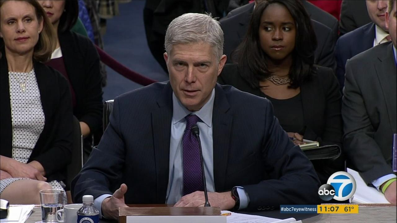 Supreme Court nominee Neil Gorsuch speaks during the second day of his confirmation hearing to fill the 13-month vacancy on the Supreme Court.