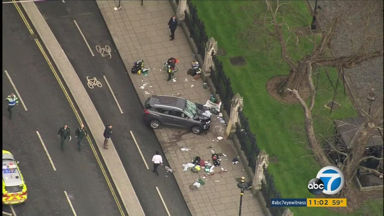 Five people were killed and 40 injured after simultaneous attacks in London on Wednesday, British police said.