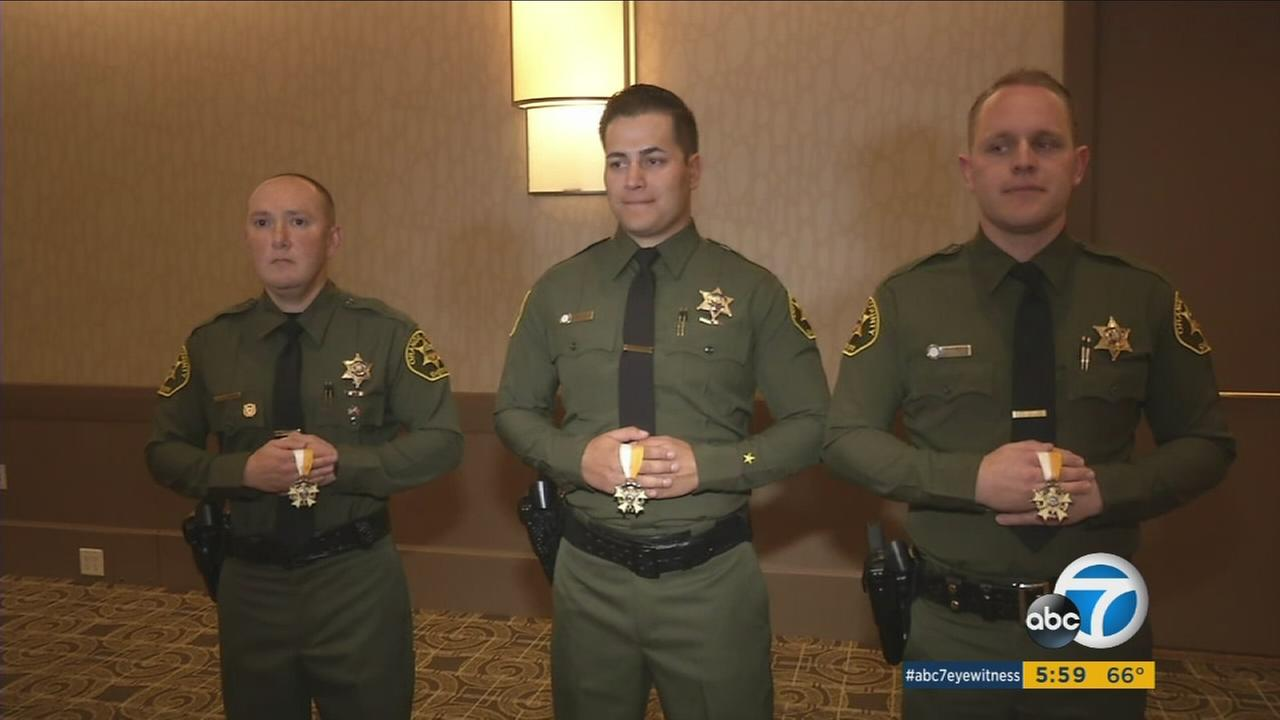 Three deputies were among 45 honored for bravery by the Orange County Sheriffs Department.