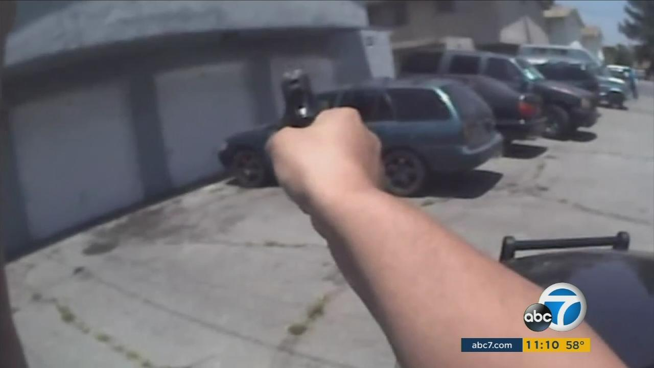 The LAPD is considering whether body camera footage like this should be released to the public after major incidents.