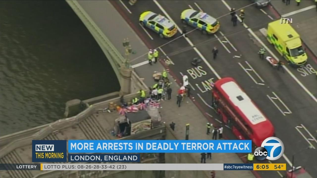 Emergency personnel at scene of terror attack in London.