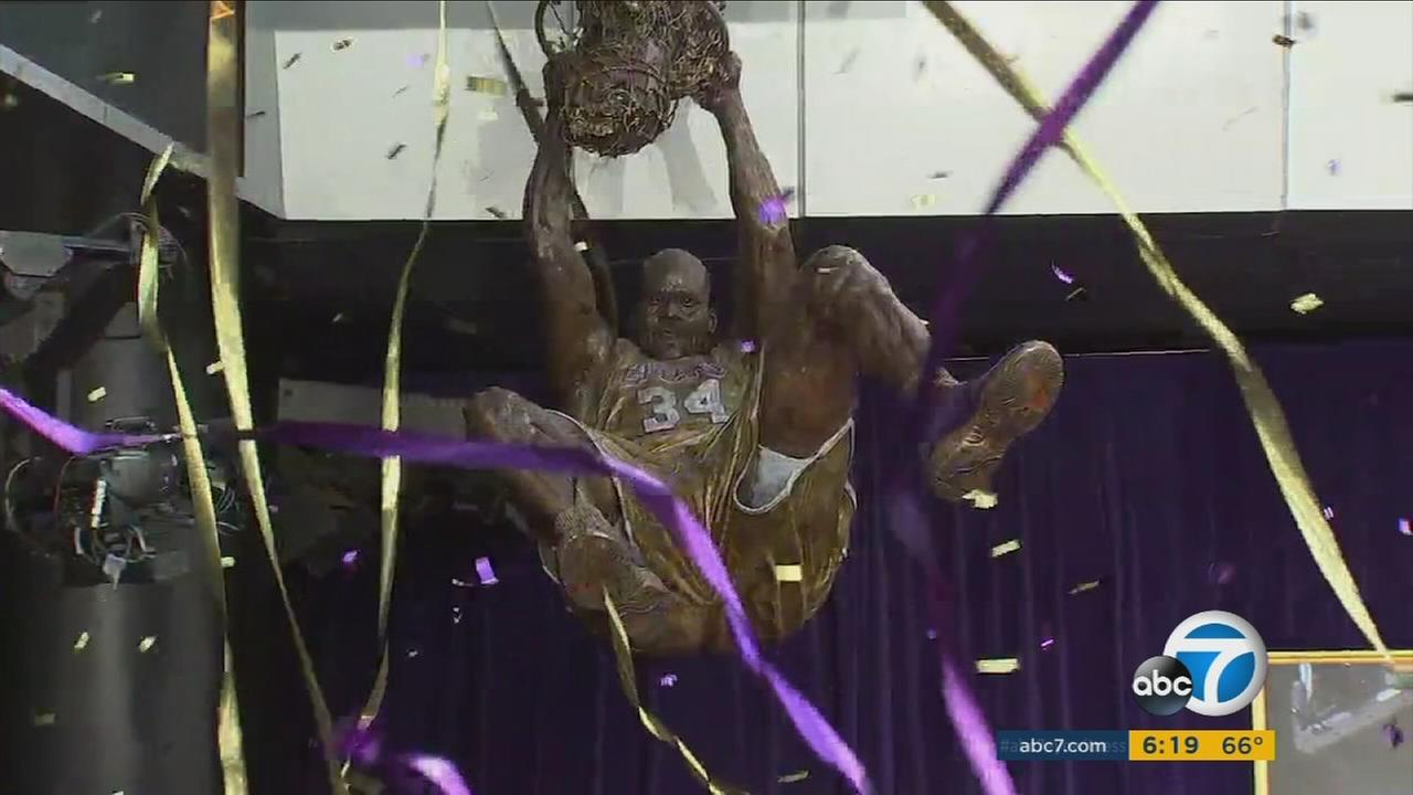 A statue honoring Shaquille ONeal is shown hanging above the ground at Staples Center on Friday, March 24, 2017.