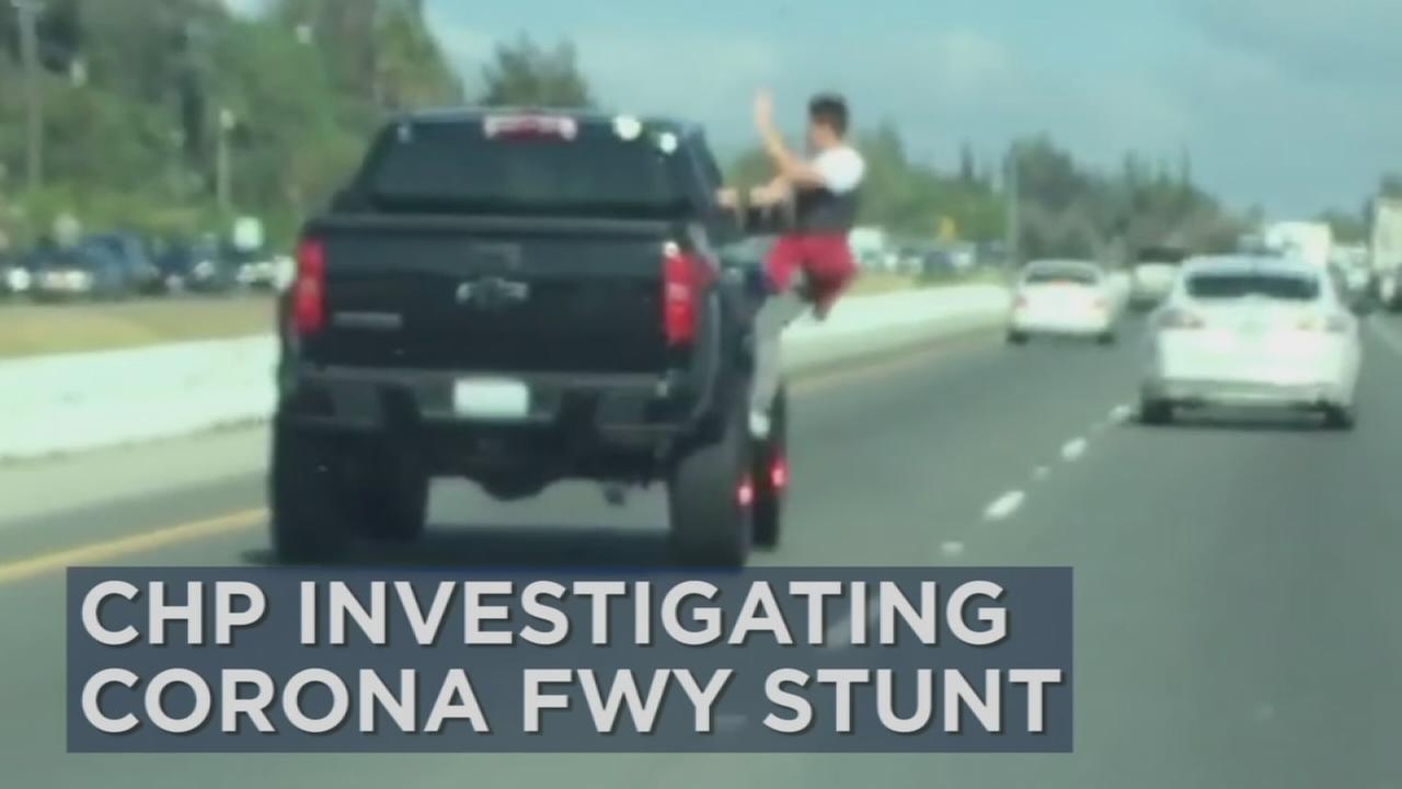 A car-surfing stunt in Corona has sparked an investigation by the California Highway Patrol.