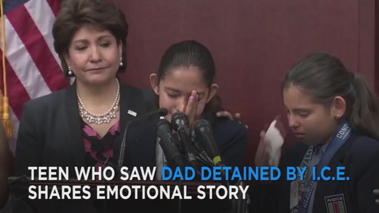 A Highland Park teen who watched as U.S. Immigration and Customs Enforcement agents detained her father last month spoke out Tuesday, along with lawmakers.