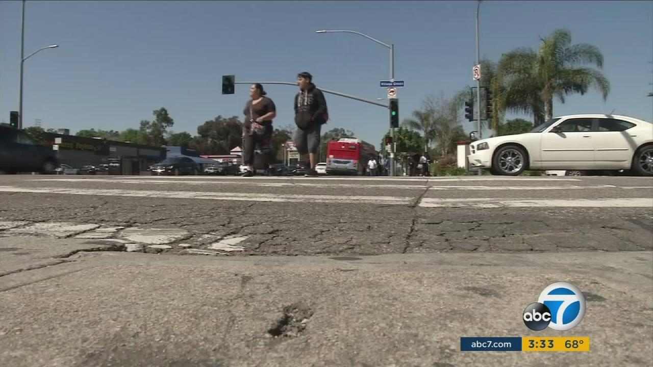 One of many of Los Angeles crumbling streets in need of repairs.