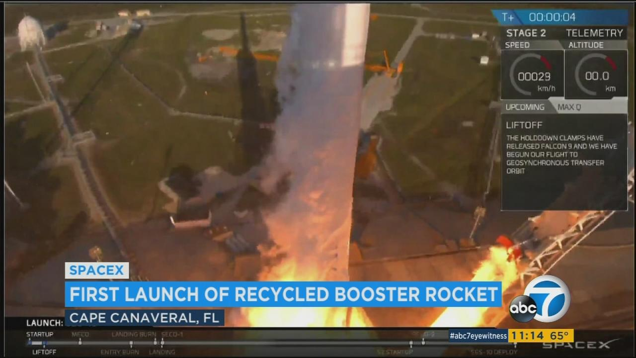 SpaceX successfully launched its first recycled rocket Thursday, the biggest leap yet in its bid to drive down costs and speed up flights.