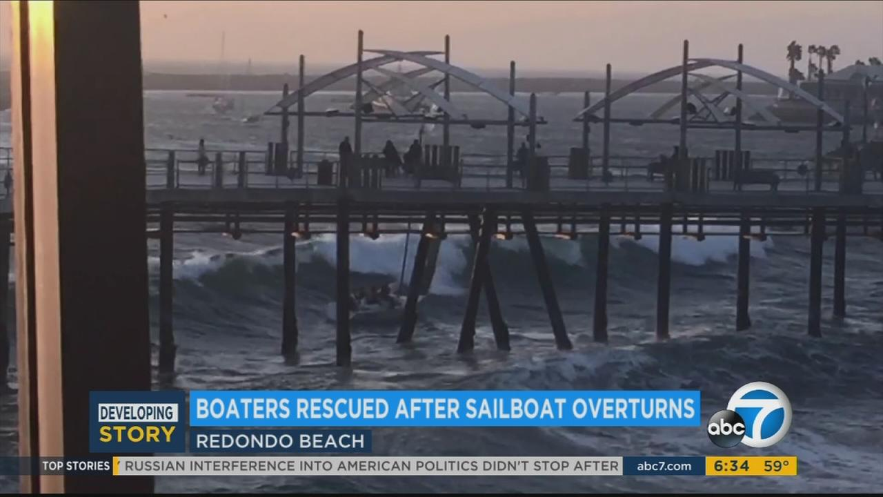 4 rescued after sailboat capsizes, slams into Redondo Beach Pier